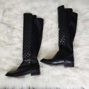 50/50 quilted vegan leather boots and nylon back